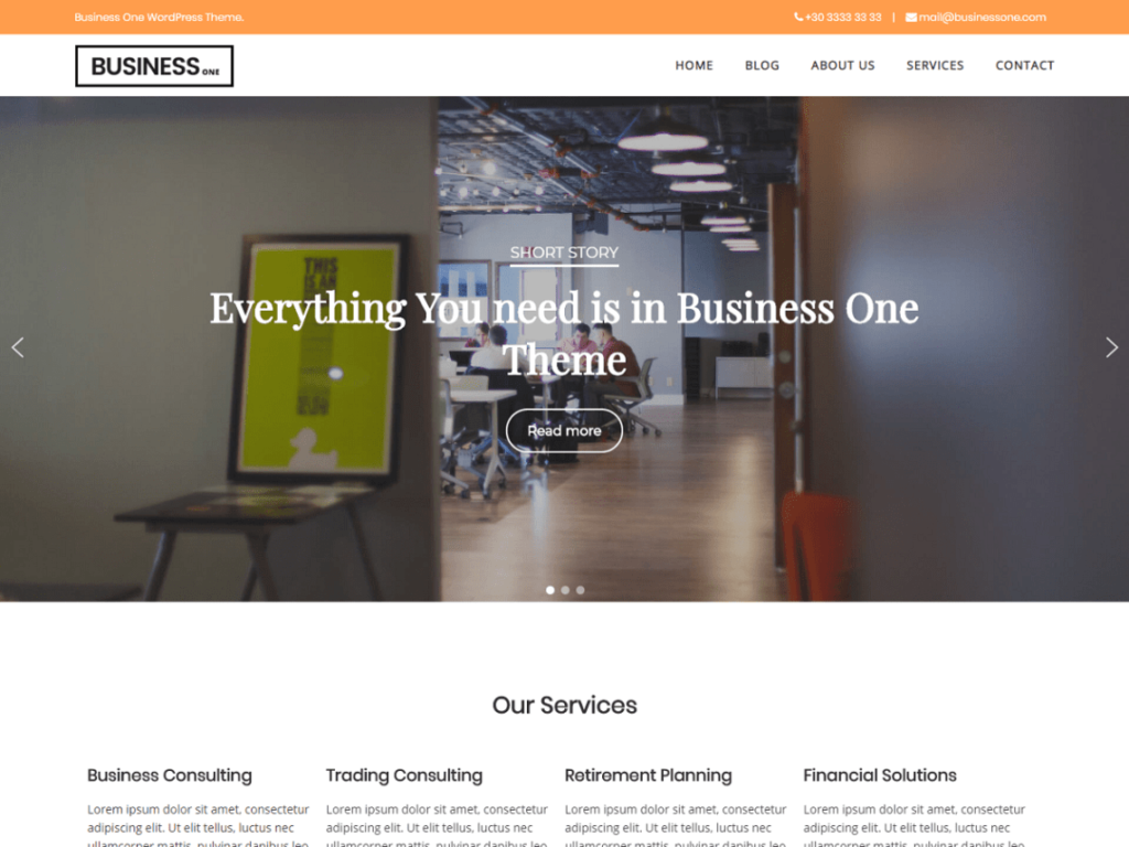 Business One Theme For WordPress