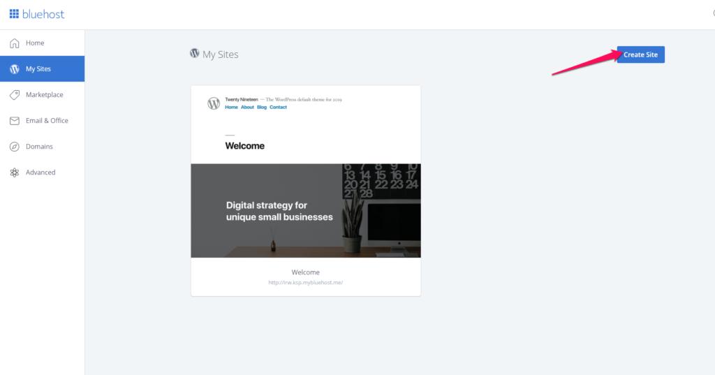 Install WordPress on Bluehost. Single Click