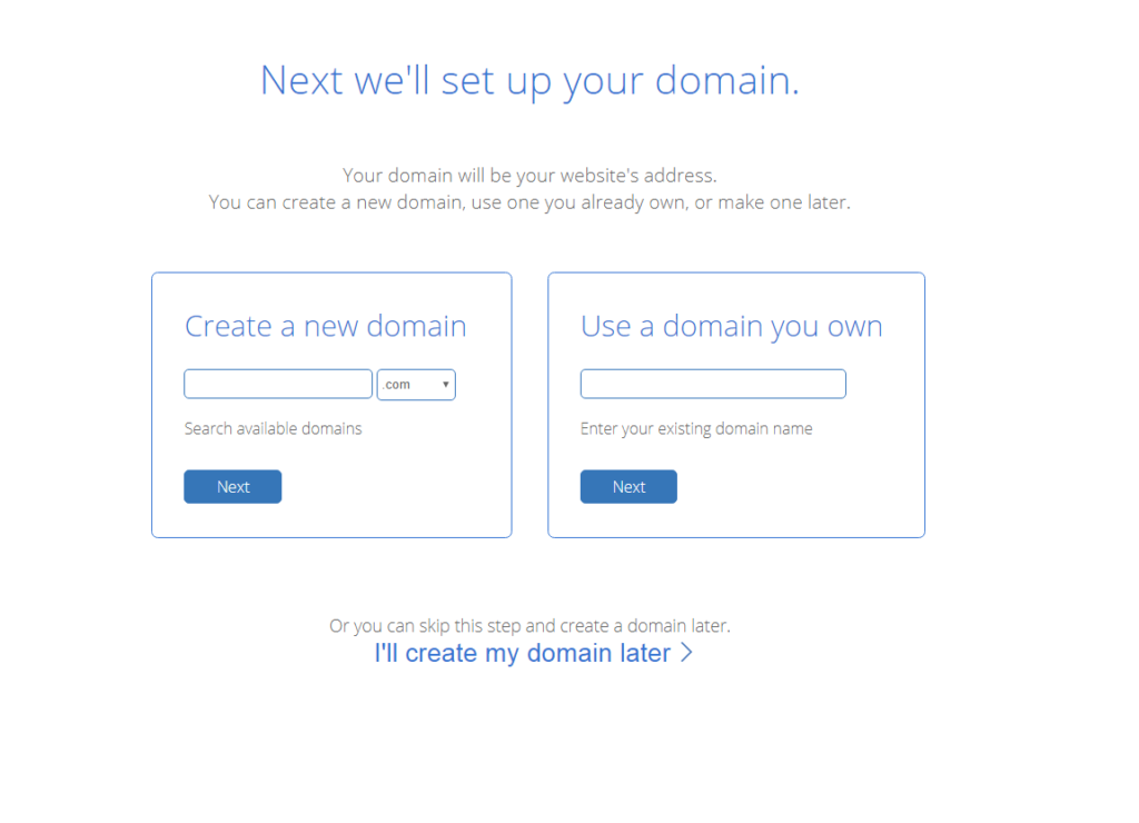 BlueHost Domain Selection Screen